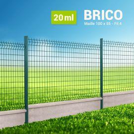 Kit Clôture Rigide avec Soubassement - Brico - 20 ml