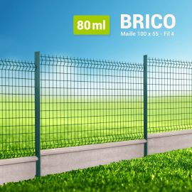 Kit Clôture Rigide avec Soubassement - Brico - 80 ml