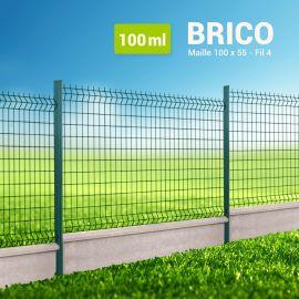 Kit Clôture Rigide avec Soubassement - Brico - 100 ml